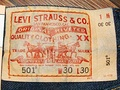 Tag from a pair of Levi 501 button fly jeans
