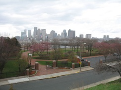 Piers Park with the downtown Boston skyline in the distance