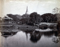 A view of the Cantonment Gardens (now Kandaw Minglar Garden) in 1868.