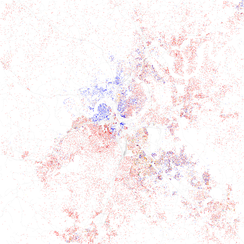 Map of racial distribution in Nashville, 2010 U.S. Census. Each dot is 25 people: White, Black, Asian Hispanic, or Other (yellow)