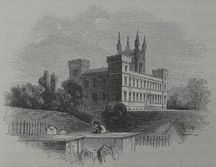 An illustration of the new main building from a nearby cemetery by Armand de Quatrefages, c. 1860