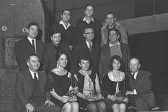 Topol (center row, far right) and other winners of the Kinor David award in arts and entertainment, 1964