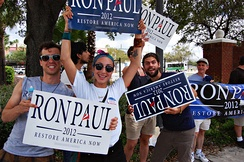 Ron Paul supporters protest outside the convention