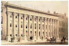 The Royal Institution building on Albemarle Street, London, circa 1838