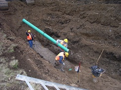 PVC sanitary sewer installation. Sanitary sewers are sized to carry the amount of sewage generated by the collection area. Sanitary sewers are much smaller than combined sewers designed to also carry surface runoff.