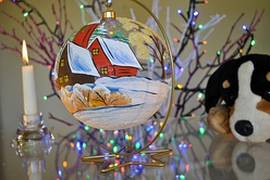 Large, hand-painted free-blown glass Christmas bauble