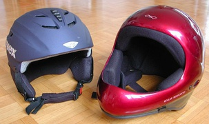 Ski helmet (left), paragliding helmet (right)