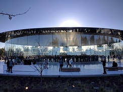 External view of the Steve Jobs Theater at Apple Park in Cupertino, California, USA. Taken before the beginning of Apple's first shareholder meeting held in the theater.
