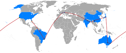 Most Race seasons, including The Amazing Race 18 (shown above), almost fully circumnavigate the globe, starting and ending in the United States and visiting three to six continents.