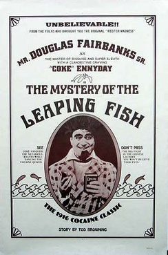 "Reissued film poster for 1916 ""cocaine comedy"" The Mystery of the Leaping Fish"