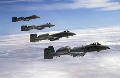 Four A-10s of the 103d Fighter Squadron, Pennsylvania Air National Guard, fly in formation during a refueling mission.