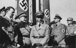 Hitler, Göring, Goebbels and Rudolf Hess during a military parade in 1933