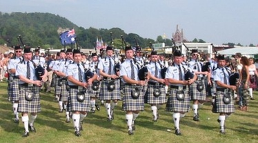 The Western Australia Police Pipe Band at Bridge of Allan Highland Games in Scotland