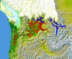Glacial Lake Columbia (west) and Glacial Lake Missoula (east) are shown south of the Cordilleran Ice Sheet. The areas inundated in the Columbia and Missoula floods are shown in red.