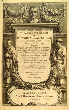 Frontispiece to a 1644 version of the expanded and illustrated edition of Theophrastus's Historia Plantarum (c. 1200), which was originally written around 200 BC
