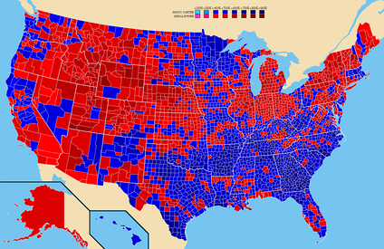 Election results by county.  Jimmy Carter   Gerald Ford