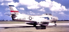 94th Fighter Squadron North American F-86A-5-NA Sabre 48-130 1st Fighter Group, March AFB California 1949. One of the first blocks of production F-86s assigned to an operational squadron