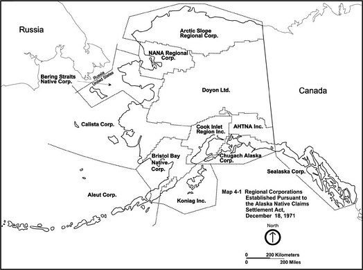 Regional corporations established by the Alaska Native Claims Settlement Act.