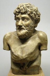 Aesop in a Hellenistic statue claimed to be him, Art Collection of Villa Albani, Rome
