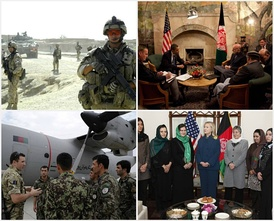 From upper left, clockwise – Canadian troops in Kandahar; American president Barack Obama meets Afghan leader Hamid Karzai in March 2010; US Secretary of State Hillary Clinton with female politicians in Kabul in October, 2011; An officer of the RAF explains a C-27 of the Afghan air force to 'Thunder Lab' students in July 2011