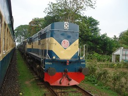 An Alco diesel train (right) on the Bangladesh Railway