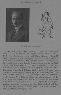 Leopold's entry in the Yale Sheffield Scientific School yearbook, 1908