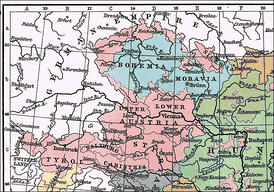 Map showing Austrian German–inhabited areas (in rose) in western Austro-Hungarian Empire in 1911