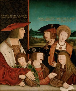 A painting by Bernhard Strigel representing the extended Habsburg family, with a young Charles in the middle.