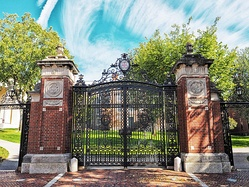 At Convocation, new students march through Van Wickle Gates, built 1900-01, designed by Hoppin and Ely of Providence and Hoppin and Koen of New York.[41] The gates were the gift of Augustus Stout Van Wickle, class of 1876, who also gave the FitzRandolph Gateway at Princeton, built 1905, as a memorial to his ancestor Nathaniel FitzRandolph