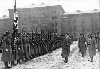 Adolf Hitler inspecting his 1st SS Panzer Division Leibstandarte, which originally started as Hitler's personal bodyguard regiment in 1923 and grew into a Military division in 1935