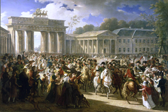 Napoleon in Berlin (Meynier). After defeating Prussian forces at Jena, the French Army entered Berlin on 27 October 1806.