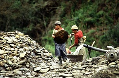 Child labour in a quarry, Ecuador.