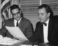 George Mitchell copy-editing a speech with Muskie, 1960