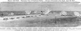 Gunline of nine Union ironclads. South Atlantic Blockading Squadron off Charleston. Continuous blockade of all major ports was sustained by North's ov  erwhelming war production.