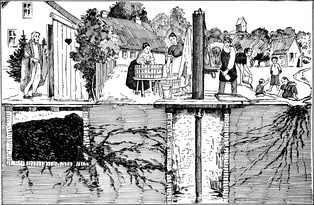 A 1939 conceptual illustration showing various ways that typhoid bacteria can contaminate a water well (center)