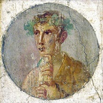Roman portraiture frescos from Pompeii, 1st century AD, depicting two different men wearing laurel wreaths, one holding the rotulus (blondish figure, left), the other a volumen (brunet figure, right), both made of papyrus