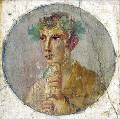 A fresco portrait of a man holding a papyrus roll, Pompeii, Italy, 1st century AD