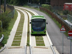A guided bus on the Cambridgeshire Guided Busway