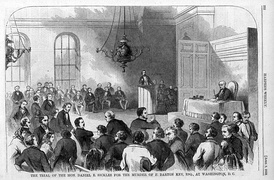 A depiction of the scene in the courtroom during Daniel Sickles' trial