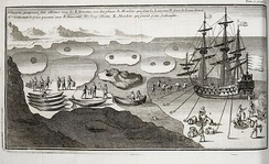 A European ship coming into contact with the Inuit in the ice of Hudson Bay in 1697.