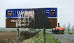 Humberside County Sign Defaced circa 1992