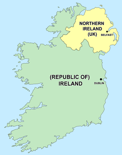Political map of Ireland, showing the Republic of Ireland and Northern Ireland