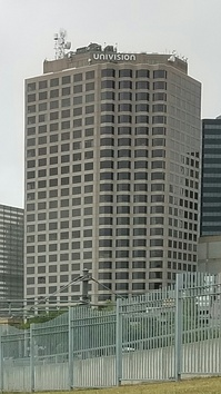 Main studios and office building for KSTR-DT and sister station KUVN-DT in downtown Dallas.