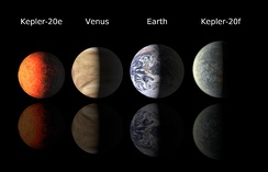 A size comparison of the exoplanets Kepler-20e[125] and Kepler-20f[126] with Venus and Earth