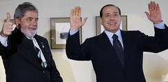 Berlusconi with the Brazilian President Luiz Inácio Lula da Silva.