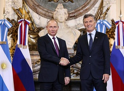 Putin with the President of Argentina, Mauricio Macri in Buenos Aires, November 2018.