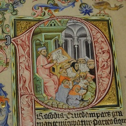 Teacher and students shown in a medieval manuscript from Bohemia