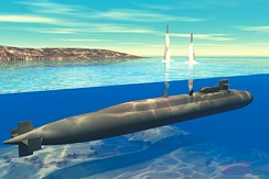 Artist's concept of an Ohio-class SSGN launching Tomahawk Cruise Missiles.