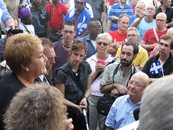 Pauline Marois addresses a crowd of supporters in Quebec City on the eve of the 2012 general election.