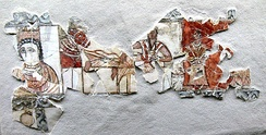 Fragment of a wall painting showing a Kindite king, 1st century CE